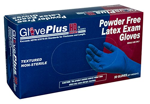 AMMEX - GPLHD84100-BX - Heavy Duty Latex Gloves - Disposable, Powder Free, Indrustrial, 12 mil, Medium, Blue (Box of 50) by Ammex