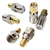 exgoofit F-Type to SMA Male Female 2 Sets 6pcs RF Coaxial Coax Adapter Connector