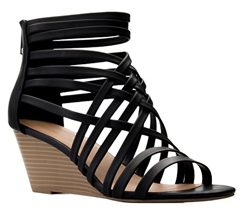 (OLIVIA K Women's Strappy Woven Wedge Sandals - Sexy Open Toe Heel - Comfort, Fasionable, Casual Style Black )