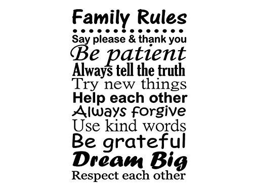 Amazon.com: Family Rules Decal, Vinyl Wall Art, Family Room Decor ...