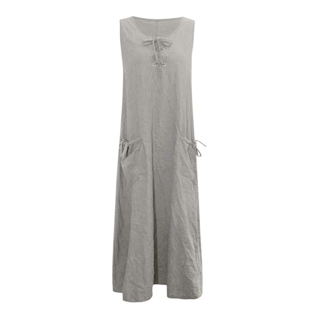 Nuewofally Women's Maxi Dress Casual Bandage Dress Summer Solid Sleeveless Long Dress Fashion Sundress Gray