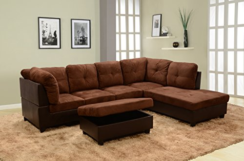 Beverly Furniture 3 Piece Microfiber and Faux Leather Upholstery Left-facing Sectional Sofa Set with Storage Ottoman, Coffee