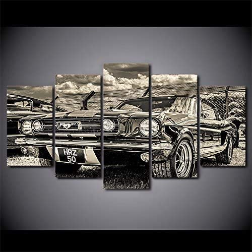 Modular HD Print Artwork Modern Sports Car Poster Home Decor Wall Art 5 Pieces Pictures 1965 Ford Mustang Canvas Painting 16x24in*2 16x32in*2 16x40in*1 Frame