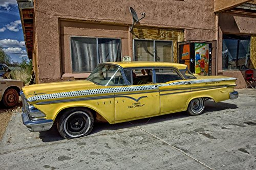 (LAMINATED 36x24 inches Poster: Edsel Ranger Taxi Cab Classic Car Car Yellow Taxi Cab Automobile Vintage Car Old-Timer Retro Old Lemon Cab Company Ford Yellow Cab Arizona Travel Transportation)