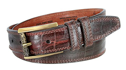 Lejon Alligator Embossed Genuine Italian Saddle Leather Casual Belt 1-3/8