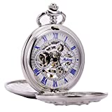 TREEWETO Silver Double Cover Roman Numerals Dial Skeleton Mens Women Pocket Watch