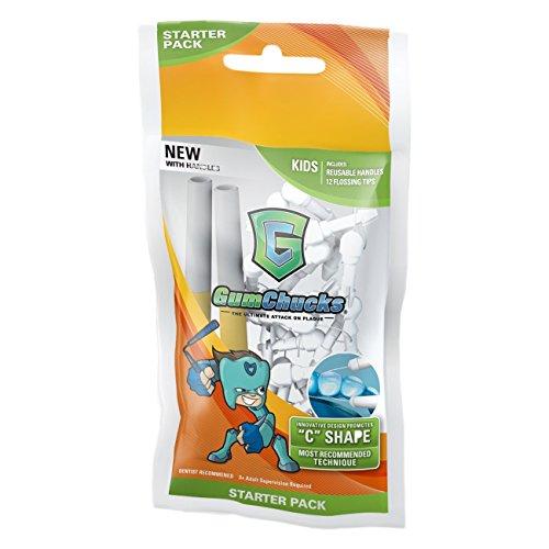 GumChucks | Faster, Easier Flossing! | Kids Floss Starter Pack | Reusable Handles + Universal Flossing Tips Pro 13 Piece