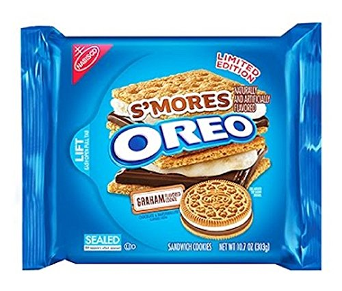 Nabisco, Oreo, Limited Edition, S'mores (Made with Graham Flavored Cookie & Chocolate/Marshmallow Flavored Creme), 10.7oz Bag (Pack of 4)