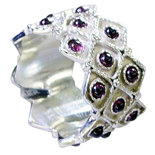 - Genuine Garnet Silver Ring For Birthday Cluster Setting Round Gemstone Jewelry Size 5,6,7,8,9,10,11,12