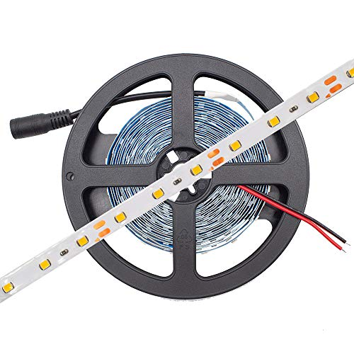 HitLights Warm White LED Light Strip, 3528-16.4 Feet, 300 LEDs, 3000K, 72 Lumens per Foot. 12V DC Tape Light