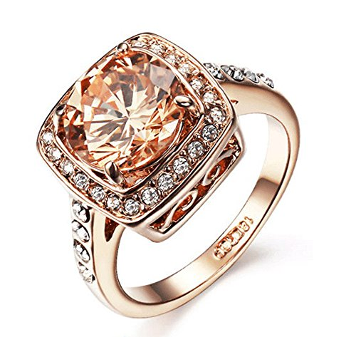 Yellow Shinning Cubic Zirconia Topaz Rings for Women 18k Rose Gold Ring