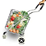Travel Shopping Cart Jumbo Aluminum Folding Swivel Wheel 4 Wheel Shopping Trolley 60L