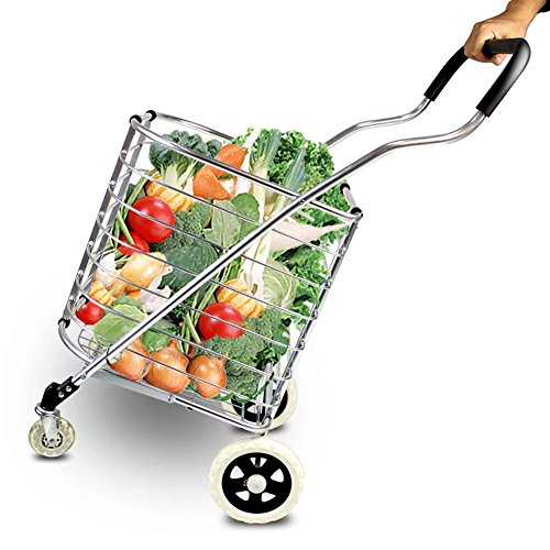 Travel Shopping Cart Jumbo Aluminum Folding Swivel Wheel 4 Wheel Shopping Trolley 60L by Finecci