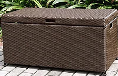 Home Improvements Espresso Brown Resin Wicker Outdoor Storage Box Deck Box Storage Patio Coffee Table