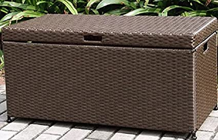 Beau Home Improvements Espresso Brown Resin Wicker Outdoor Storage Box Deck Box  Storage Patio Coffee Table