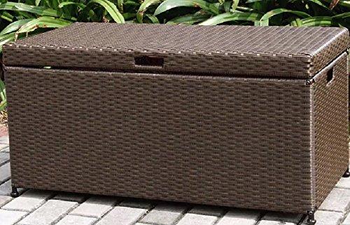 (Home Improvements Espresso Brown Resin Wicker Outdoor Storage Box Deck Box Storage Patio Coffee Table)