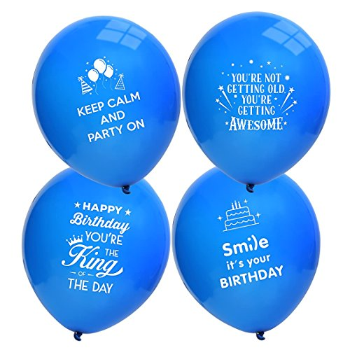 Ava Kings 24pc Happy Birthday Theme For Him Blue Color Party Supplies Balloon