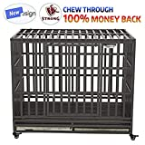 """SMONTER 46"""" Heavy Duty Dog Crate Strong Metal Pet Kennel Playpen with Two Prevent Escape Lock, Large Dogs Cage with Wheels, Dark Silver"""