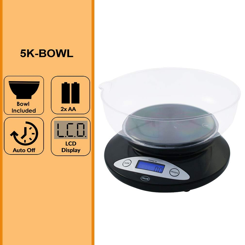 American Weigh Scales Precision Digital Kitchen Food Weight Scale With Removable Bowl Black 5kg X 1g 5k Bowl Bk Kitchen Dining