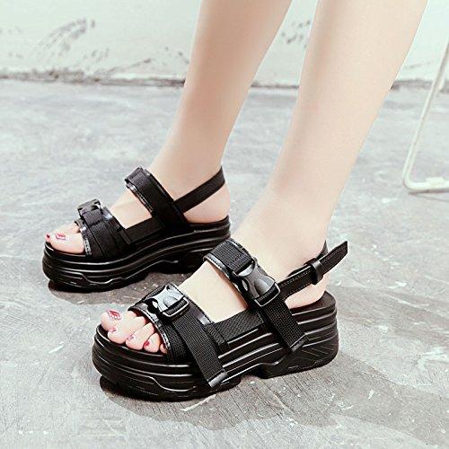 sandali piatto a black da moda estate toe casual Onorevoli toe fondo retrò sports spiaggia scarpe YMFIE UPn1pqx