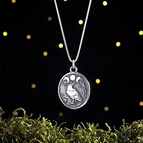 Sterling Silver Raven and Triple Moon - (Pendant or Necklace) (Moon Phase Pendant)