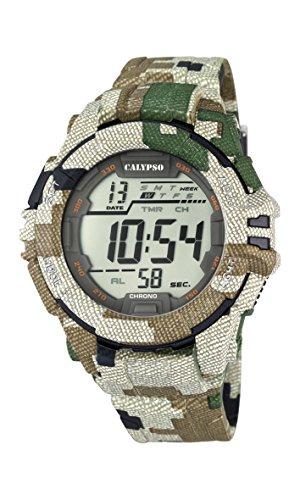 Calypso Hombre Reloj digital con pantalla LCD Pantalla Digital Dial y correa de plástico multicolor K5681/3