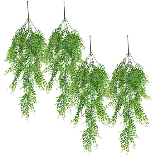 Outgeek Artificial Hanging Plants, Artificial Green Ivy Vine Artificial Shrubs Hanging Vine Plant for Home Garden Outdoor Wall Decoration (4 pcs)