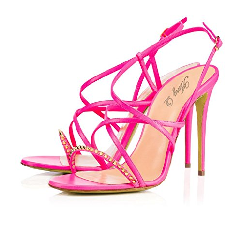 Amy Q Rivets Open Toe Cut Out Stiletto Heel Summer Sandals Customize Big Size Shoes for Casual Place PU Red US 11