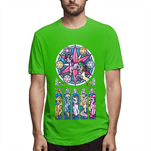 LightCa My Little Pony Stained Glass Window Tshirts for Man Green 32]()