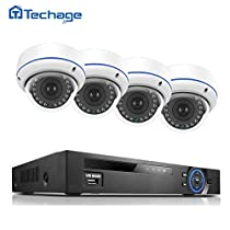 1080P PoE CCTV Security Camera System, Techage 1080P 8CH NVR + 4 Dome Cameras Home Surveillance Kit Without Hard Drive, 48V Indoor Waterproof & Vandalproof IP Cameras