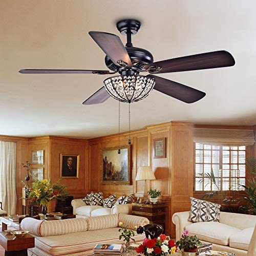 Warehouse of Tiffany CFL-8167BL Hannele Bowl 3-Light Black 52-inch Ceiling Fan
