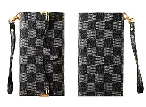 """1x Newest style Luxury DELUXE Grid wallet Checker Pattern Flip Cover Leather Case for New APPLE IPHONE 4.7"""" 6 6G LV16 WHITE BROWN BLACK GREY (Black)"""