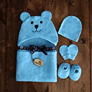 Bimboly Extra Soft Baby Bamboo & Cotton Hooded Towel + Bonus Bath Set | Antibacterial and Hypoallergenic | Keeps Baby Dry and Warm | Sized for Infant and Toddler | Baby Shower Gift | Blue