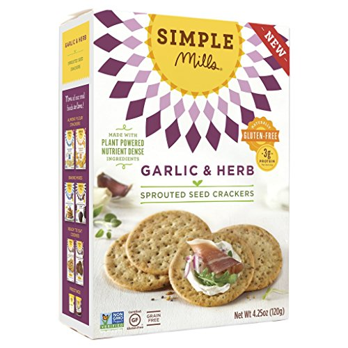Simple Mills - Sprouted Seed Crackers - Garlic & Herb Flavor - 4.25 oz, Gluten Free, Grain Free (1 Pack)
