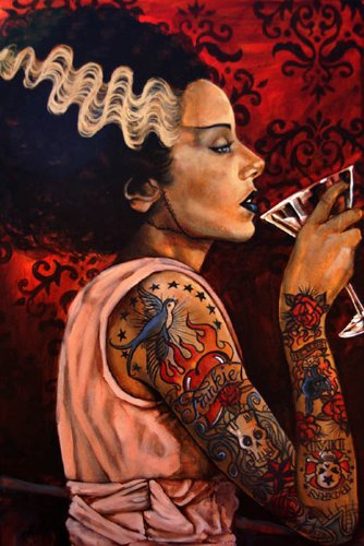 Bride Cocktail by Mike Bell Frankenstein Tattoo Rolled Canvas or Paper Art ()
