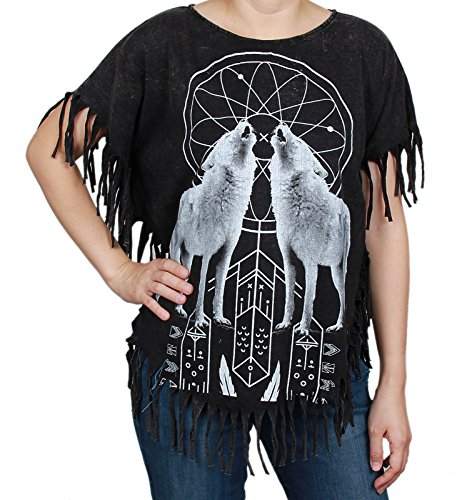 (Wolf Howling Stonewashed Bleached Bohemian Hippy Boho Top)
