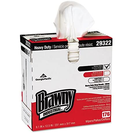 Brawny Industrial Heavyweight HEF Disposable Shop Towels 9 X 12 5 White 176 Box Includes Ten Boxes Of 176 Towels