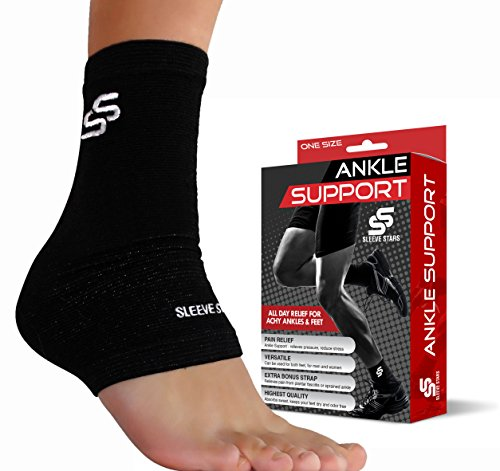 Sleeve Stars Ankle Brace for Plantar Fasciitis and Ankle Support - Ankle Wrap for Sprain, Tendonitis & Heel Pain Relief for Women & Men - Achilles Tendon Support Socks, One size, Black (Single Sleeve)