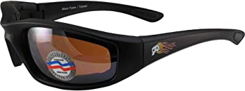 93931589c4a2 Maxx Foam Sport Padded Motorcycle Riding Sunglasses Black with Amber Lens  with Maxx Skull Logo
