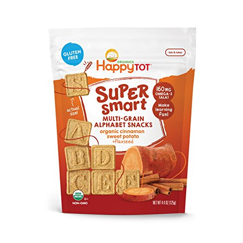 Happy Tot Super Smart Snacks, Organic Toddler Snack, Cinnamon, Sweet Potato + Flaxseed, 4.4 Ounce Bag by Happy Family
