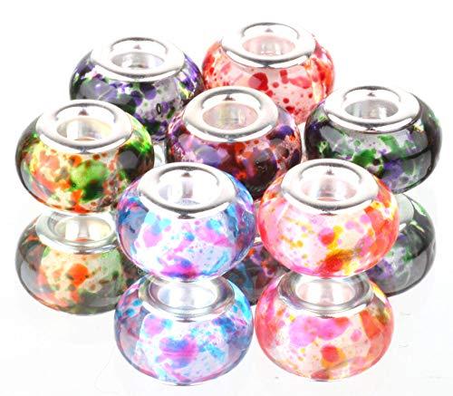 Mix 10pcs Silver Murano LAMPWORK Beads Fit European Charm Bracelet #A534