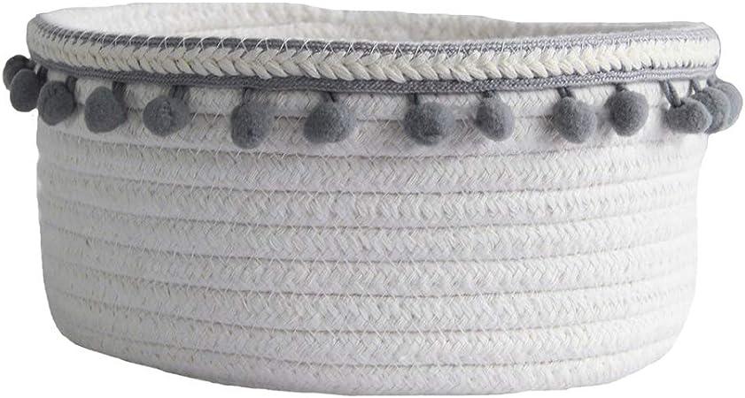 Etag/ères Blanc//Vert Cl/és Znvmi Panier de Rangement en Corde de Coton avec Couvercle Petit Bo/îte Rond Stockage de Bureau Organisateur pour Maquillage