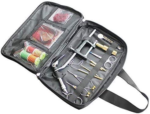 LKB-KB ポータブルパック袋を含めバイスボビンハックルプライヤー等で1セットのフライフィッシングフライタイイングツールキット ペンチ