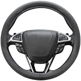SEG Direct Microfiber Leather Black Steering Wheel Cover Universal Fit 37-39cm