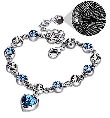 (XingYue Jewelry Love Heart Ocean Blue Crystal Bracelet Women and Teens Sapphire Birthstone 100 Languages Projection Bracelets)