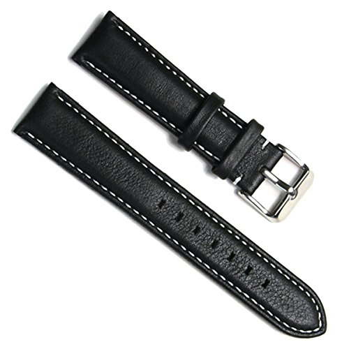 18mm Handmade Vintage Replacement Leather Watch Strap/Watch Band (Oil Wax Leather/Black)