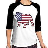 WWOJWBU English Bulldog American Flag Women's Casual Half Sleeve Printed Tee