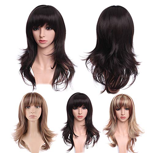 Ombre Dark Brown Auburn Wigs with Bangs for Women Synthetic Heat Resistance Wig 15inch Long Straight Layered Hair Fluffy Tail