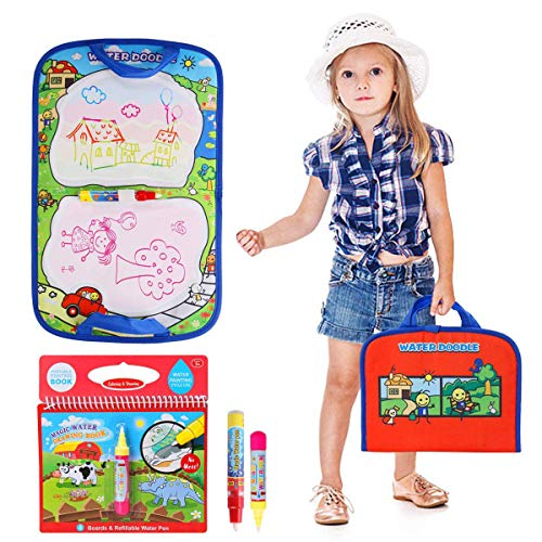 (BBLIKE Aqua Travel Doodle Mat Water Reusable Magic Foldable Board Non-Toxic Canvas with 1 Coloring Magic Water Drawing Book , 2 Water Pen Included, for 1 2 3 4 5 6 Year Old Boys Girls Toddlers Gifts)