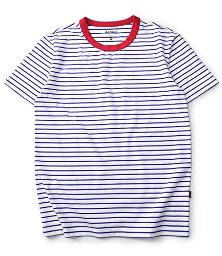 Zengjo Stripe Shirt Men Short Sleeve Crew Neck Striped Cotton T Shirt Men(M, ()